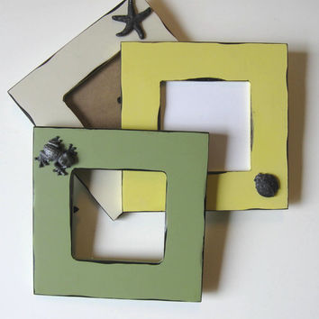 SALE, 3 Embellished photo Frames Beach Cottage Decor, Home and Living, gift idea