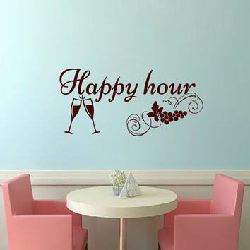 Wall Decals Happy Hour Decal Vinyl Sticker Glass of Wine Grapes  Kitchen Home Decor Interior Design Cafe Restaurant Art Murals MN114
