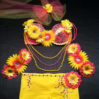 EDC, rhinestone & daisy Rave, Hippie, costume, dance, festival, decorated bra top and tutu outfit