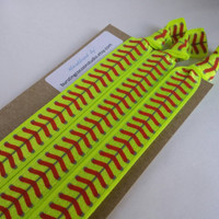 Softball headbands, set of 3 elastic headbands, neon yellow  foldover elastic with red stitching, stretch headband, adult size, workout