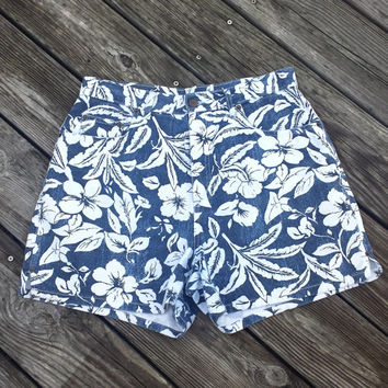 Vtg 90s Womens HIGH WAIST denim shorts HAWAIIAN flower print Bill Blass M/L  10
