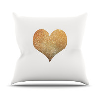 "Suzanne Carter ""Gold Heart"" Glam Outdoor Throw Pillow"
