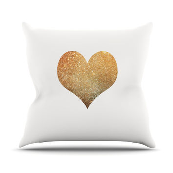 "Suzanne Carter ""Gold Heart"" Glam Throw Pillow"