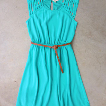 Teal Arrow Falls Dress [7358] - $25.20 : Feminine, Bohemian, & Vintage Inspired Clothing at Affordable Prices, deloom