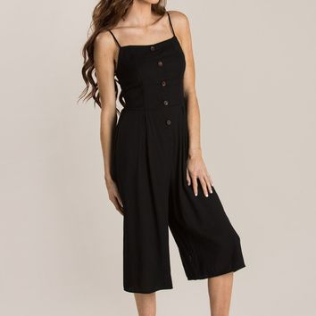 Susie Black Button Cropped Jumpsuit