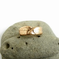 Bronze Metal Clay Textured Ring looks like artifact organic feel