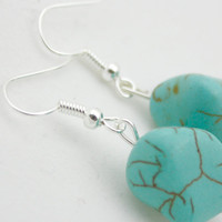 Bohemian Silver & Turquoise Dangle Earrings #turquoise #love Perfect Gift