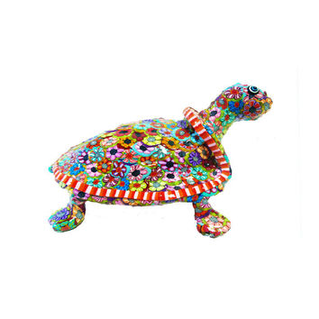 Art Turtle sculpture, Polymer Clay turtle, colorful