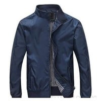 Men's Dark Blue Bomber Jacket - Multiple Sizes
