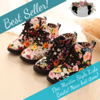 Cute Girls Doc Martin Style Flower Boots