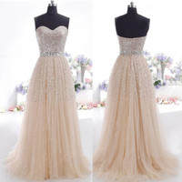 Fashion Champagne Prom Dress Cocktail Party Ball Gown Evening Bridesmaid Dress Sequins Long Formal