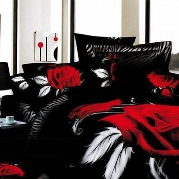 3D Red Rose Printed Cotton Luxury 4-Piece Black Bedding Sets/Duvet Cover Sets