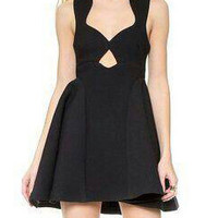 Black Cut-Out Sleeveless Skater Dress