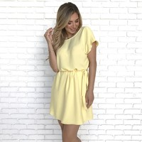 Reach New Heights Shift Dress In Yellow