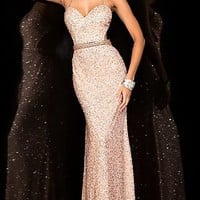 Dresses, Formal, Prom Dresses, Evening Wear: Floor Length Sequin Scala Dress with Open Back