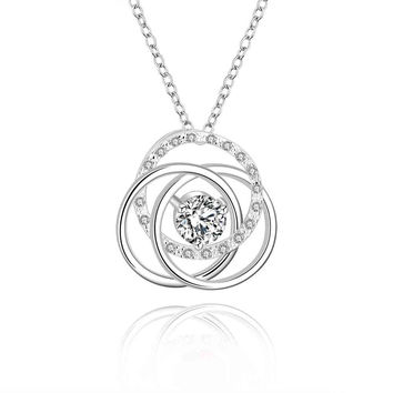 silver women necklace Three circle white stone gros collier femme jewellery