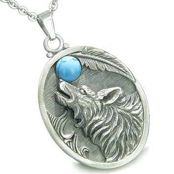 Amulet Howling Wolf Simulated Turquoise Moon Pendant 22 Inch Necklace