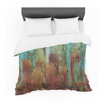 "Steven Dix ""Copper Shale Awash"" Teal Brown Painting Featherweight Duvet Cover"