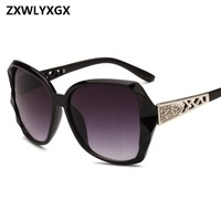 ZXWLYXGX Vintage Big Frame Mirror Sunglasses Women Brand Designer Gradient Lens High Quality Sun glasses Oculos De Sol