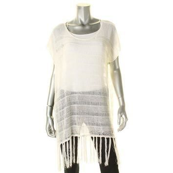Polo Ralph Lauren Womens Fringe Side Slits Swim Top Cover-Up