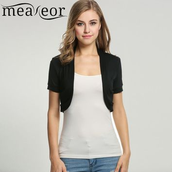 73afc5c9066 Meaneor Women s Knit Bolero Casual T-Shirts Style Short sleeve
