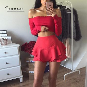 Fuedag 2017 Summer Autumn Women Short Pack Hip Pleated Shorts Sexy Skinny Ruffles Casual Shorts Beach Party Club Wear