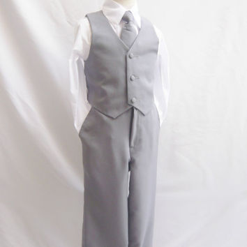 Formal Boy GREY Tuxedo with Long Tie (5 Pieces in 1 Set) - (Size 2, 3, 4 only) - Boy Teen Toddler Ring Bearer