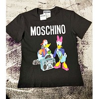 Moschino & Donald Duck Fashion New Letter Duck Print Couple Top T-Shirt Black