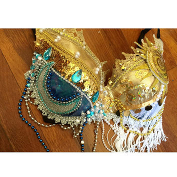 Sun and Moon (Regular bra) - edc bra, Rave, EDC, Fringe, EDC Outfit, Festival Outfit, Halloween, Costume, above and beyond, rave bra