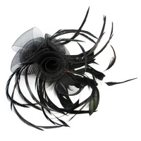 "Lady Women Black Feather Net Flower Hair Comb Feather Fascinator Wedding Bride (Size: 2.76"", Color: Black) = 1929585348"