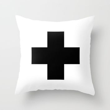 #30 Cross Throw Pillow by Minimalist Forms
