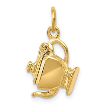 14k Yellow Gold 3D Polished Teapot Charm