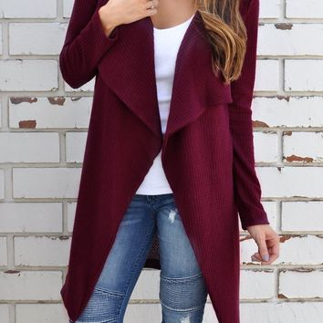 Red Casual Cardigan Cross-Woven Outerwear Jacket