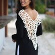 Black Top With Crochet V-Back