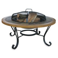 UniFlame® Slate/Faux Wood Firepit with insert Cover by Blue Rhino