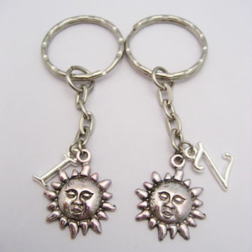 Sun Keychain Set Silver Sun Keychain Set  Sun Face  Keychain Set Best Friends Keychain Set Keychains Mother Daughter Personalized Gift