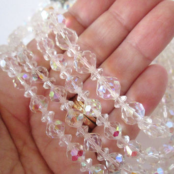 Vintage Clear Glass Crystal Bead Necklace Lot of Two Total of Four Strands Mid Century Gorgeous AB Aurora Borealis Rainbow Sparkle Nice!  N3