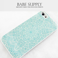 Pastel Blue Mandala iPhone 5c case, iPhone 5s case, Floral iPhone 5s 5c hard case, Flower cover skin case for iphone 5c 5s ( Hard / Rubber )