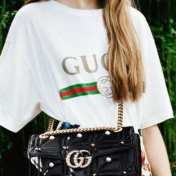 GUCCI pearl Women Shopping Leather Metal Chain Crossbody Satchel Shoulder Bag H-MY-JDCHH