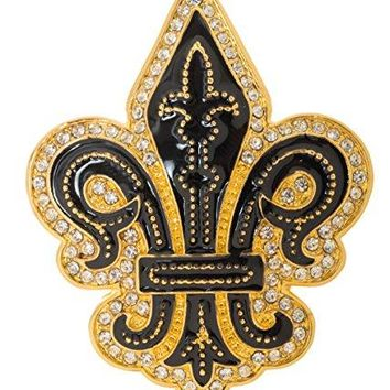 Fleur de Lis quotFlower of the Lilyquot French Brooch Pin 2quot with Crystal Accents