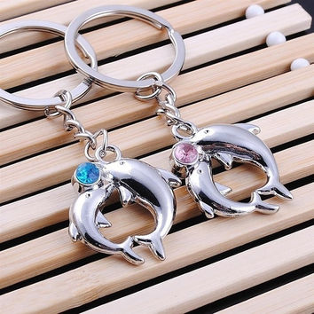 wish 1Pair Dolphins Lover Metal Couples Baby Crystal Key Ring Chain Keyfob Creative Gift  ztl = 1929878212