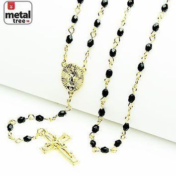 "Jewelry Kay style 14k Gold Plated 4mm Bead Guadalupe & Jesus Cross 25"" Rosary Necklace HR 700 GBK"