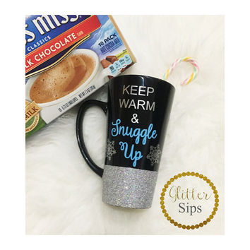 Keep Warm & Snuggle Up Glitter Ceramic Coffee Cup // Snowflake // Glitter Cup // Glitter Coffee Cup // Black Coffee Cup // Christmas Gift