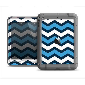 The Blue Wide Chevron Pattern Apple iPad Mini LifeProof Nuud Case Skin Set