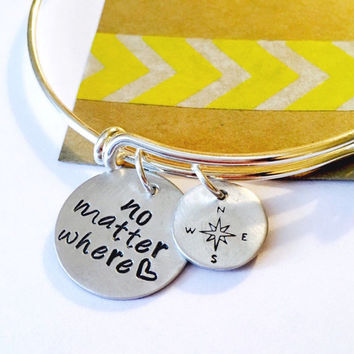 No Matter Where Bracelet, No Matter Where Bangle Bracelet, Best Friends Bracelet,  Friend Bracelet Adjustable Bracelet