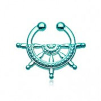 Colorline Nautical Wheel Fake Septum Clip-On Ring