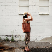 Cognac Horween vegetable tanned leather tote- The Panama Tote