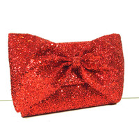 Red Glitter Bow Clutch Bag