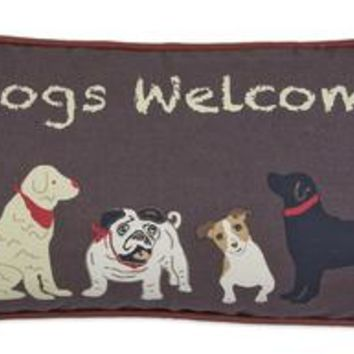 """DOGS WELCOME"" on Brown Canvas Pillow 12""L X 24""W"