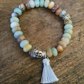Boho Buddha Gemstone Tassel Stretch Bracelet Beaded Bohemian Jewelry by Two Silver Sisters